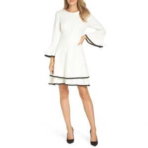 New Eliza J Bell Sleeve Fit &Flare Dress In Ivory